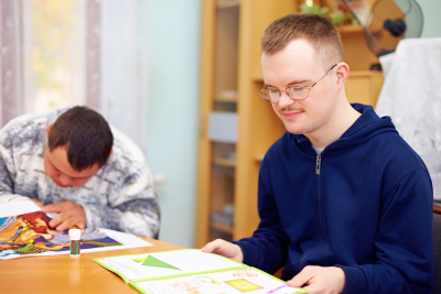 person with disability engages in self study